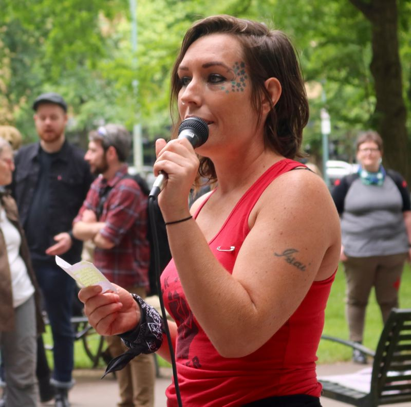 TRIBUNE PHOTO: ZANE SPARLING - Anarchist Star Stauffer speaks during a protest at Terry Schrunk Plaza on Sunday, June 3 in downtown Portland.