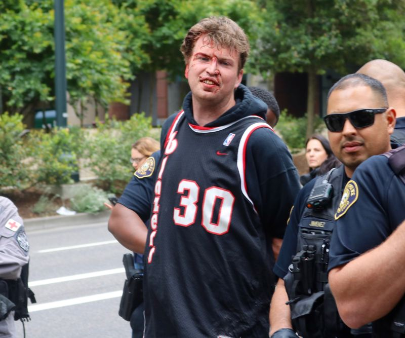 TRIBUNE PHOTO: ZANE SPARLING - This man was detained by Portland Police on Sunday, June 3 in Portland.