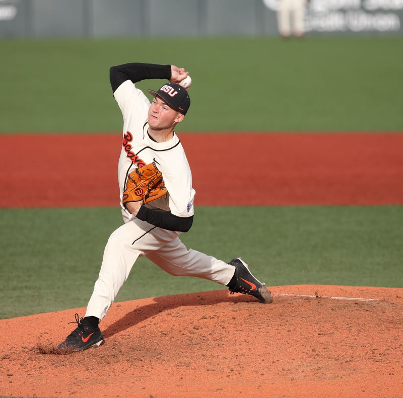 TRIBUNE PHOTO: SCOTT CASSIDY - Kevin Abel pitches for the Beavers.