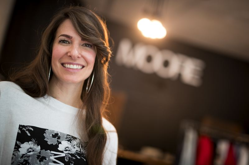 PAMPLIN MEDIA GROUP: JAIME VALDEZ - Andrea Moore Beaulieu, owner of MOORE Custom Goods, in her store at Southeast 28th Avenue.