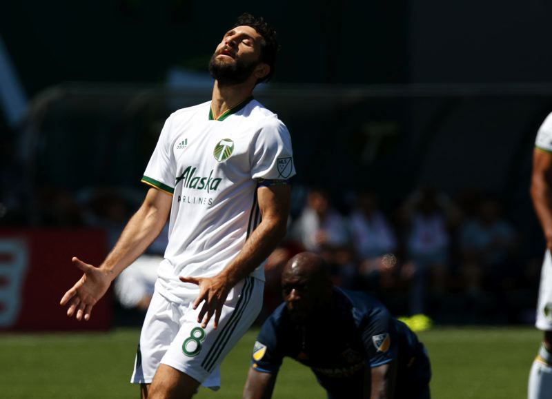 TRIBUNE PHOTO: JONATHAN HOUSE - Diego Valeri of the Portland Timbers laments a shot attempt that got away during last weekend's 1-1 tie at home with the Los Angeles Galaxy.