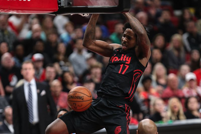 TRIBUNE PHOTO: DAVID BLAIR - Ed Davis dunks in a Trail Blazers game against the Los Angeles Clippers.