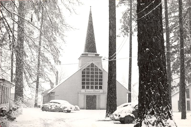 SUBMITTED PHOTO - Jenning Lodge's Friesen Chapel is pictured in winter 1949.