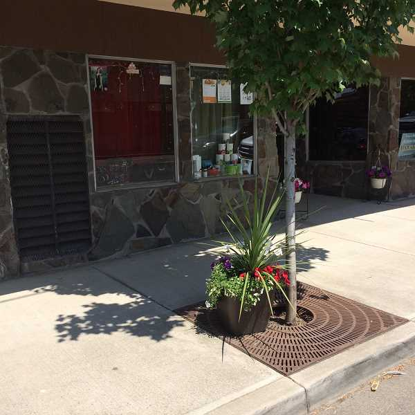 COURTESY PHOTO - Molalla Area Chamber of Commerce placed flower pots to beautify Molalla's downtown sidewalks.