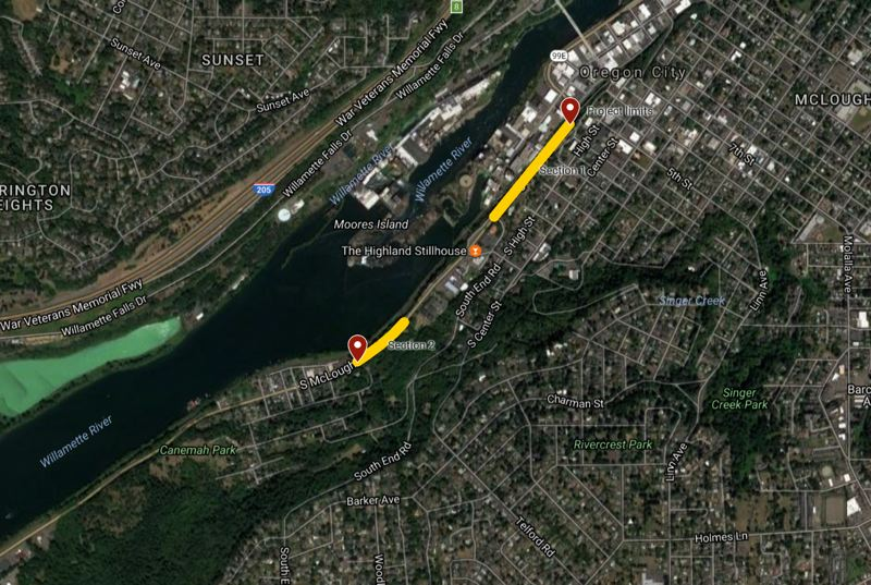 ODOT - Sections of Highway 99E with lane closures planned by state officials.