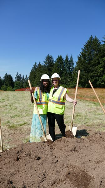 PHOTO COURTESY: NCSD - Khaliyah Williams-Rodriguez, NCSD associate director of elementary programs, and Karen Rush, executive director of elementary programs, help break ground at the new elementary school for the Happy Valley area.