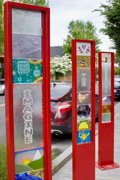 OUTLOOK PHOTO: CHRISTOPHER KEIZUR - The citys newest public art, Imagine, can be found at the corner of Northeast Hood Avenue and Northeast Third Street.