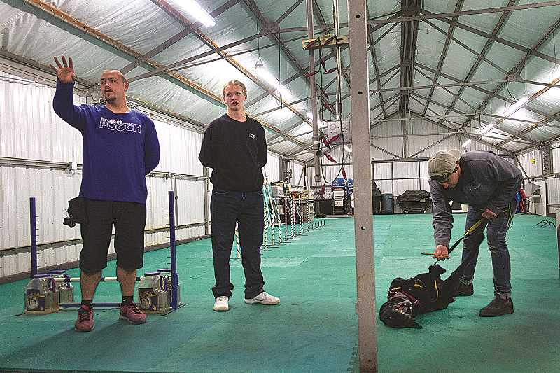 PATRICK EVANS -  Robert, Travis and Jace show visitors around POOCH's agility training facility, while POOCH dog Chase rolls around in excitement.