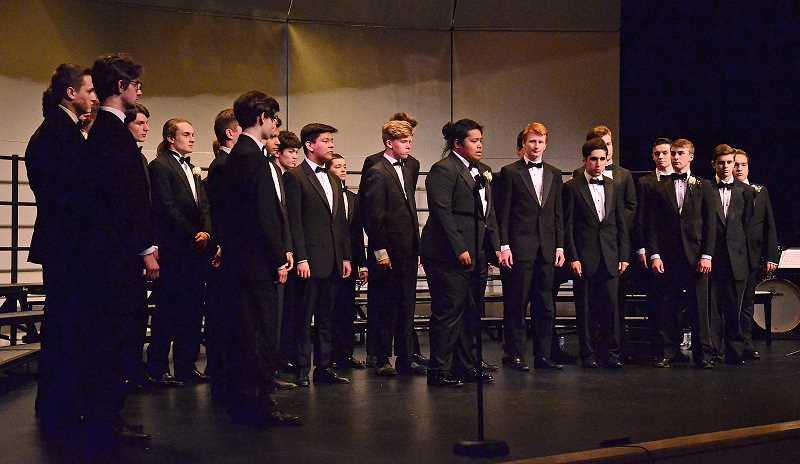 "SPOKESMAN PHOTO: VERN UYETAKE  - The all Men Choir performs ""Loch Lomond,"" a traditional Scottish song."