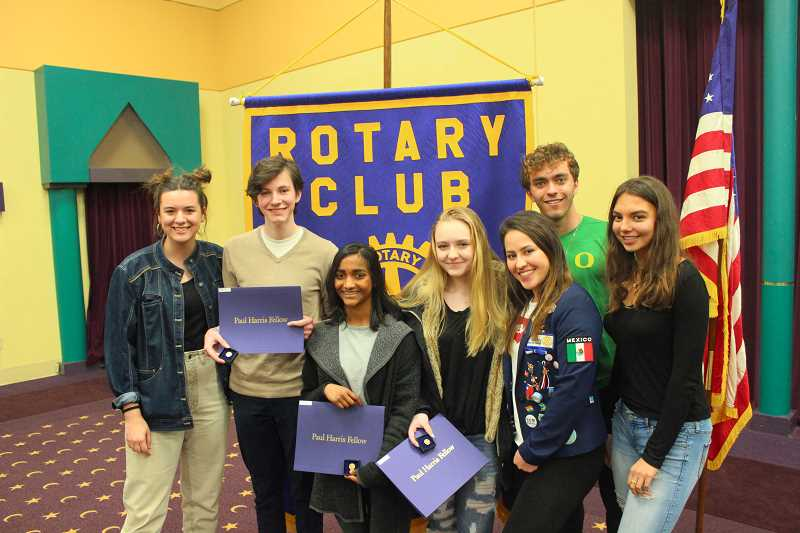 SPOKESMAN PHOTOS: COREY BUCHANAN - Rotary Club of Wilsonville former or upcoming exchange students met at Al Kader Shriner to talk about their experiences last Thursday.