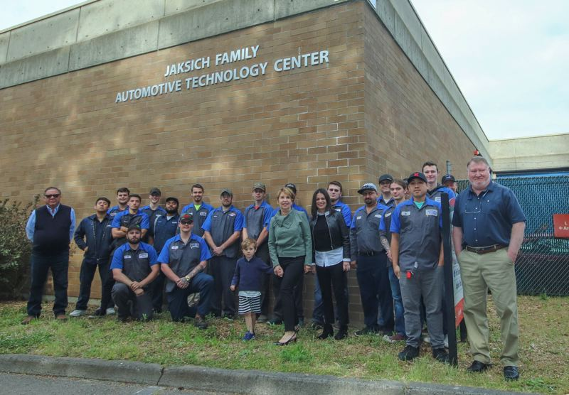 CONTRIBUTED PHOTO: GLENN WRIGHT, MHCC - Students and staff join the Jaksich family in front of the tech center.