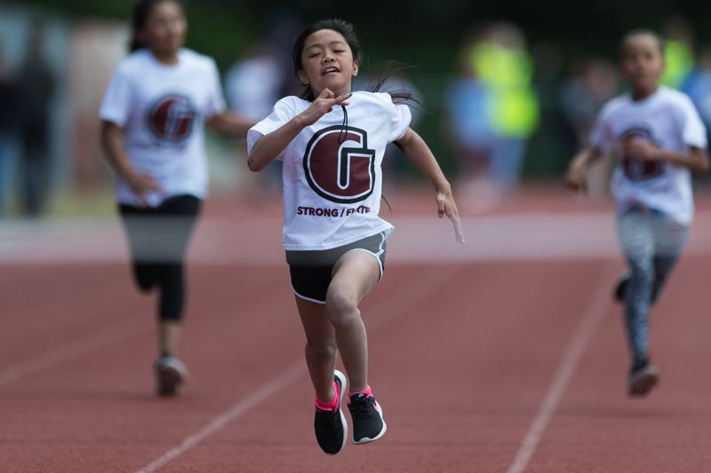 STAFF PHOTO: CHRISTOPHER OERTELL  - Cheryle Nakamoto who is in the fourth grade at Free Orchards Elementary School won the 100 meter dash representing Glencoe High School.