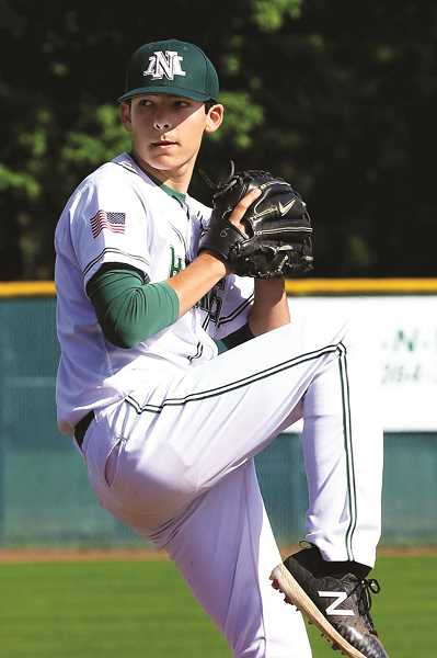 JO WHEAT - North Marion junior Griffin Henry struck out 11 and gave up just five hits in the Huskies' 1-0 loss to La Grande in the 2018 4A Baseball Semifinals.