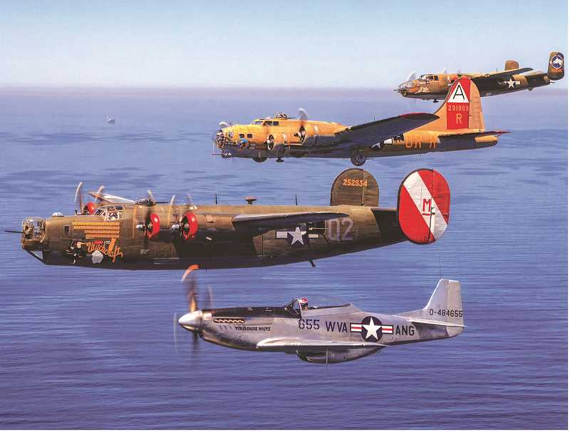 COURTESY PHOTO - A B-17 Flying Fortress, a B-24 Liberator, a B-25 Mitchell and a P-51 Mustang will be at Aurora State Airport June 15-17.