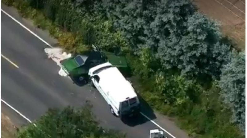 CONTRIBUTED PHOTO: KOIN 6 NEWS - An image taken by helicopter of the fatal Gresham crash Tuesday afternoon, June 5, which left two people dead.
