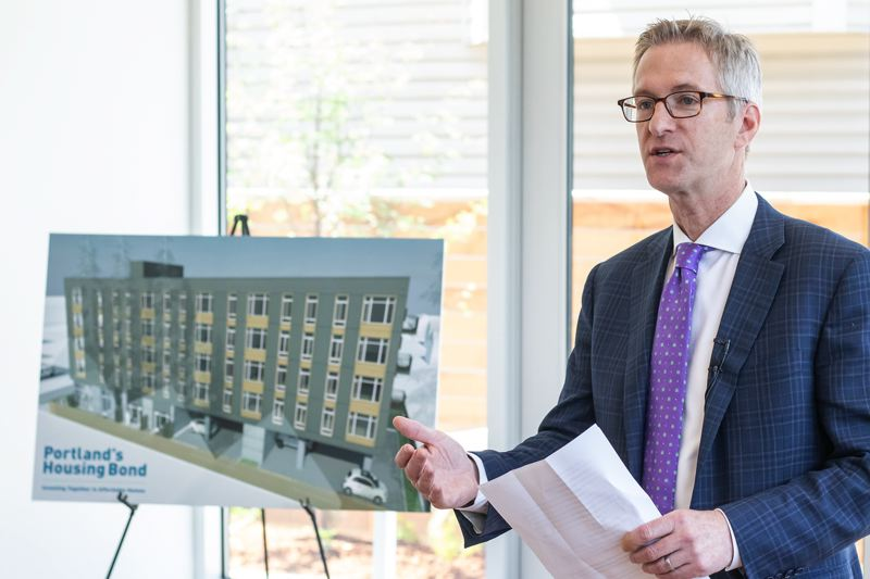 PORTLAND TRIBUNE: JON HOUSE - Mayor Ted Wheeler spoke about the benefits of the apartment building on Tuesday.