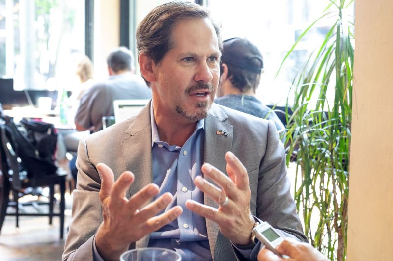 TRIBUNE PHOTO: JONATHAN HOUSE - Knute Buehler, Republican candidate for governor, says he would love to see major league baseball in Portland.