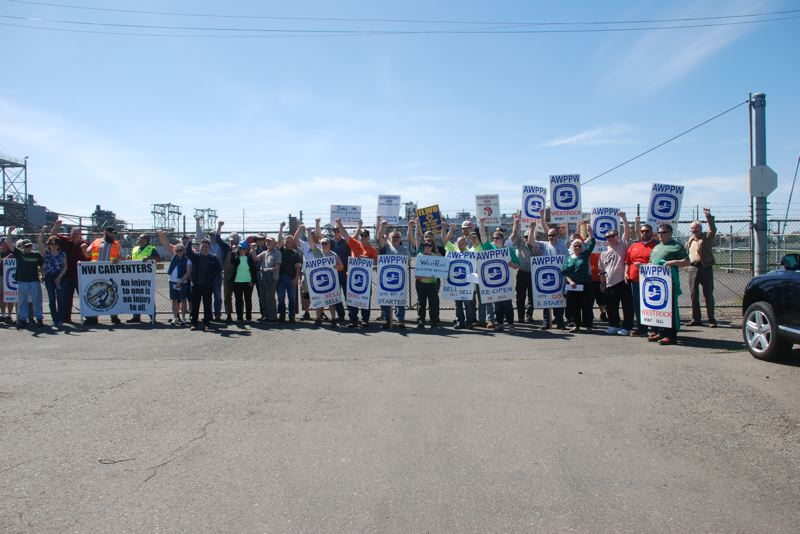 PHOTOS COURTESY OF ASSOCIATION OF WESTERN PULP AND PAPER WORKERS  - Laid-off mill workers and union supporters rally at the closed mill in Newberg, appealing for owner WestRock Co. to sell it intact so it can be reopened.