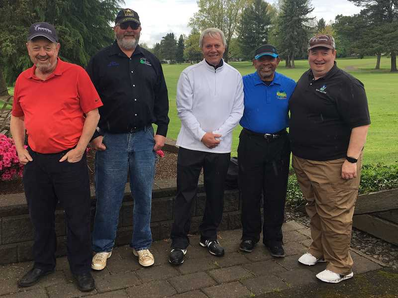COURTESY: JAIMIE FENDER - From left to right: Mayors Denny Dolye of Beaverton, Jeff Gowing of Cottage Grove, Gery Schirado of Durham, Ken Gibson of King City and John Cook of Tigard pose together at the first annual Mayor's Golf Tournament in King City.
