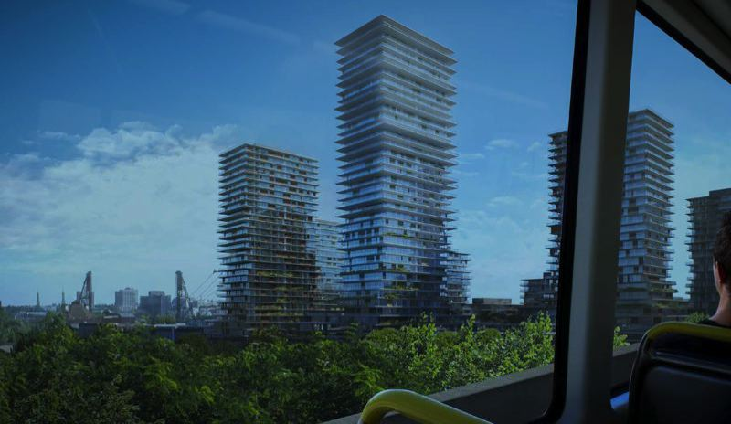 KENGO KUMA AND ASSOCIATES - An artisit rendering of the tall residential towers proposed for the RiverPlace area.