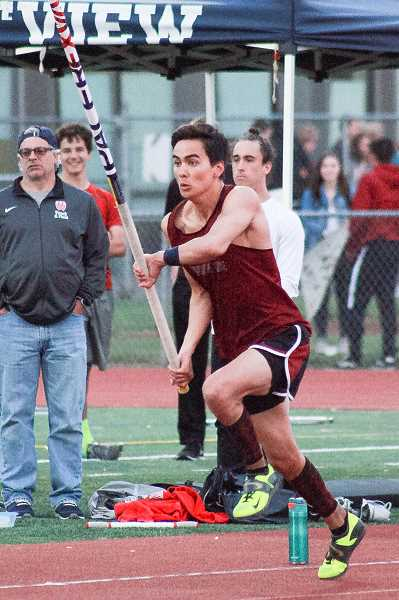 COURTESY PHOTO - Blake Lee starts his approach during the pole vault event at a meet at Westview earlier this season.