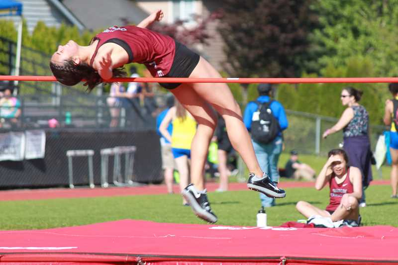 COURTESY PHOTO - Glencoe freshman Jayda Lee takes a leap during the high jump at a meet earlier this season.