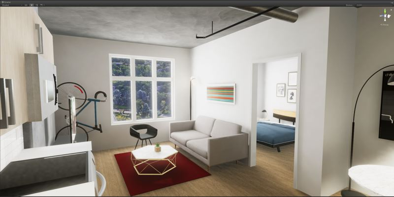 COURTESY: MORETENSON - A typical Storyline one bedroom apartment, which viewers can walk through in virtual reality. Exposed concrete, knockoff Eames chairs, racing bike on the wall...It has everything.
