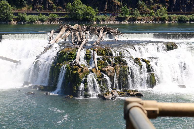 TRIBUNE PHOTO: ZANE SPARLING - The gushing torrent of Willamette Falls is seen here from the West Linn paper mill.