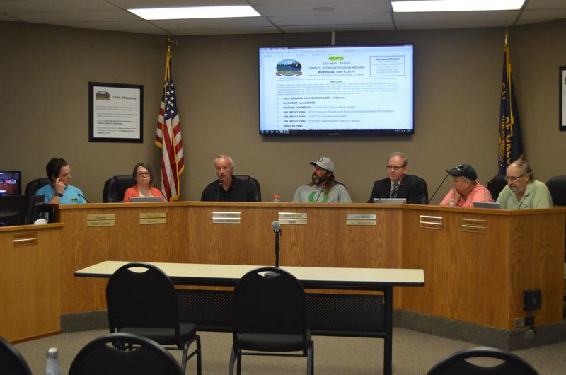 SPOTLIGHT PHOTO: NICOLE THILL-PACHECO - The St. Helens City Council discusses proposed budget changes and interfund loans during a meeting Wednesday, June 8. The council approved two interfund loans and passed a supplemental budget during the meeting.