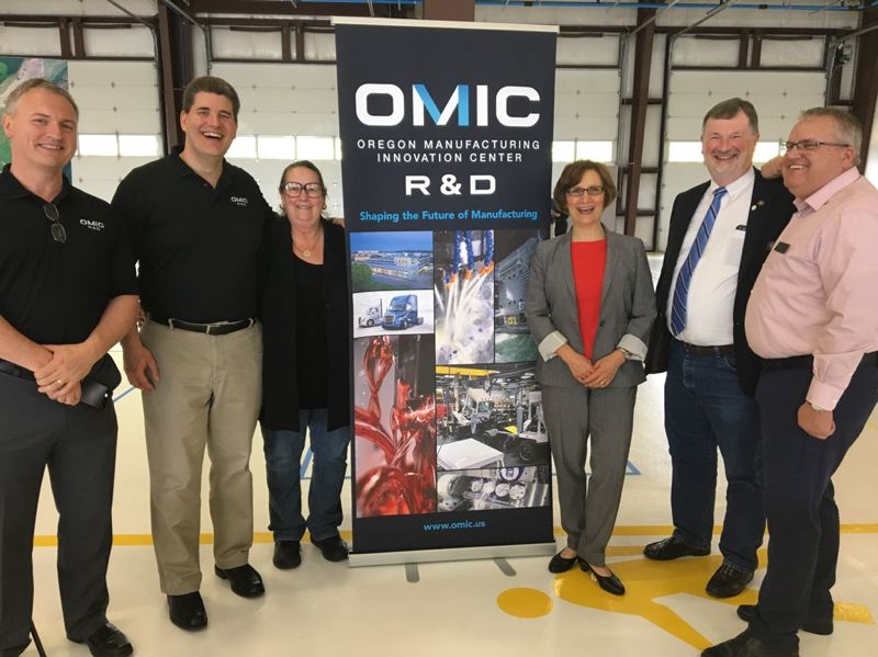 PHOTO COURTESY OF SUZANNE BONAMICIS OFFICE - OMIC leaders meet with state lawmakers Friday, June 1 in Scappoose. Pictured left to right: PCC Training Director Chris Holden, OMIC R&D Executive Director Craig Campbell, Sen. Betsy Johnson, Congresswoman Suzanne Bonamici, and Rep. Brad Witt.