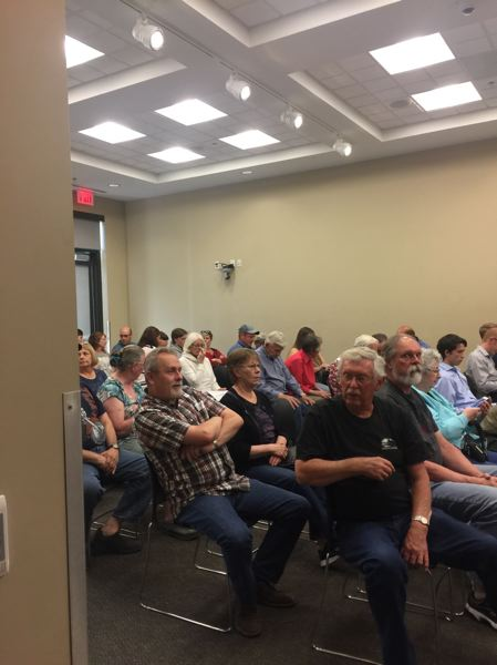 OUTLOOK PHOTO: MATT DEBOW - There was a packed house during Troutdale City Councils special one-issue session on Tuesday, June 5, at the Community Policing Center. The meeting was held to discuss a proposal to allow variances for a zone designated for single-family housing.