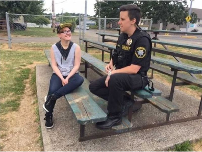 COURTESY PHOTO - A photo provided to KOIN 6 News shows Sam Munda (left) with Washington County Sheriff's Deputy Shannon Wilde, a friend and source of support during their last year at Banks High School.