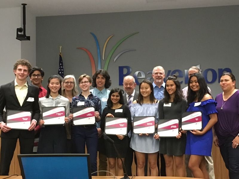 PAMPLIN MEDIA GROUP: PETER WONG - Beaverton Arts Foundation student scholarship recipients for 2018, at a City Council meeting June 5. From left, William Greer, Aveek Ganguly, Christine Chu, Councilor Cate Arnold, Lucy Gordon, Carlos Moreno, Aishani Saha, Mayor Denny Doyle, Martha Nguyen, Councilor Mark Fagin, Annaka Ketterer, Councilor Marc San Soucie (partly hidden), Ania Ty, Council President Lacey Beaty. Not pictured: Todd Fisher, Aleasha Jones, Julia Trinh Pham, Jessica Xiao.