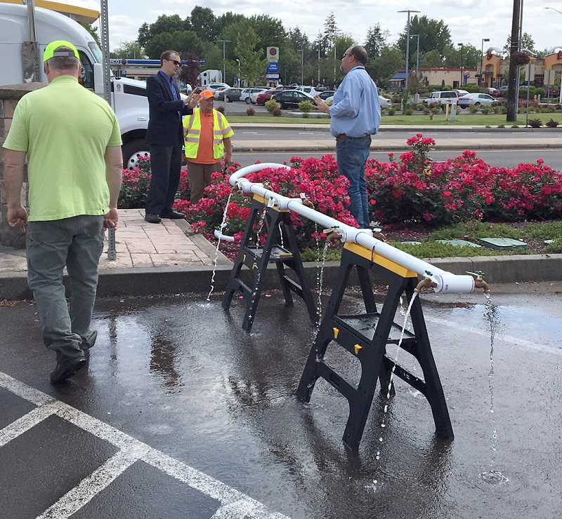 COURTESY: CITY OF WOODBURN - A water filling station at Woodburn Memorial Transit Center is being set up for Salem residents affected by the water advisory.