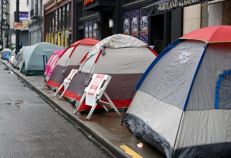 TRIBUNE PHOTO: ZANE SPARLING - Tents line First Avenue on Friday, June 8, during the Pitch A Tent event in downtown Portland.