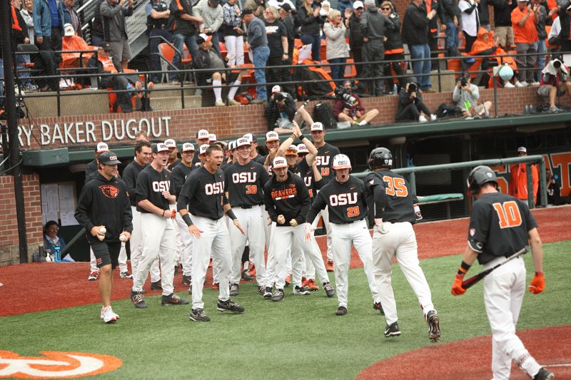 TRIBUNE PHOTO: SCOTT CASSIDY - The Oregon State Beavers greet Adley Rutschman (35) after his home run Friday against Minnesota.