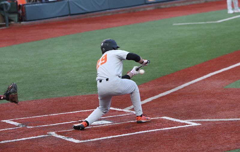 TRIBUNE PHOTO: SCOTT CASSIDY - Oregon State's Jack Anderson bunts against the Golden Gophers.