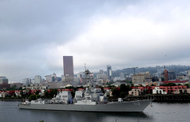 PAMPLIN MEDIA GROUP: JAIME VALDEZ - The USS Michael Murphy heads out of Portland Monday morning, June 11, as the Rose Festival Fleet Week comes to an end.