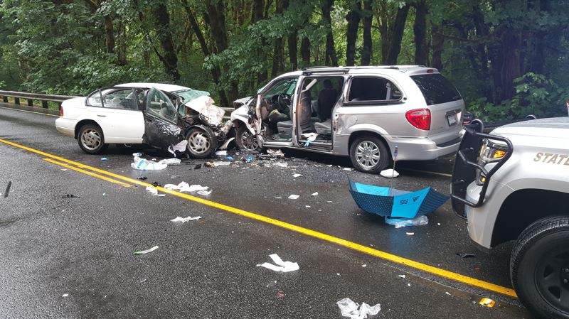 COURTESY PHOTO: OREGON STATE POLICE - A Saturn SL and Chrysler Town and Country were involved in a head-on fatal collision Sunday on Highway 6 in Tillamook County.
