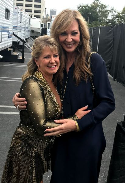 COURTESY: TONYA HARDING - Actress Allison Janney (right) shares a hug with Tonya Harding. Janney won the Academy Award this year for Best Actress in a Supporting Role and a Golden Globe for Best Supporting Actress for her portrayal of Harding's mother.