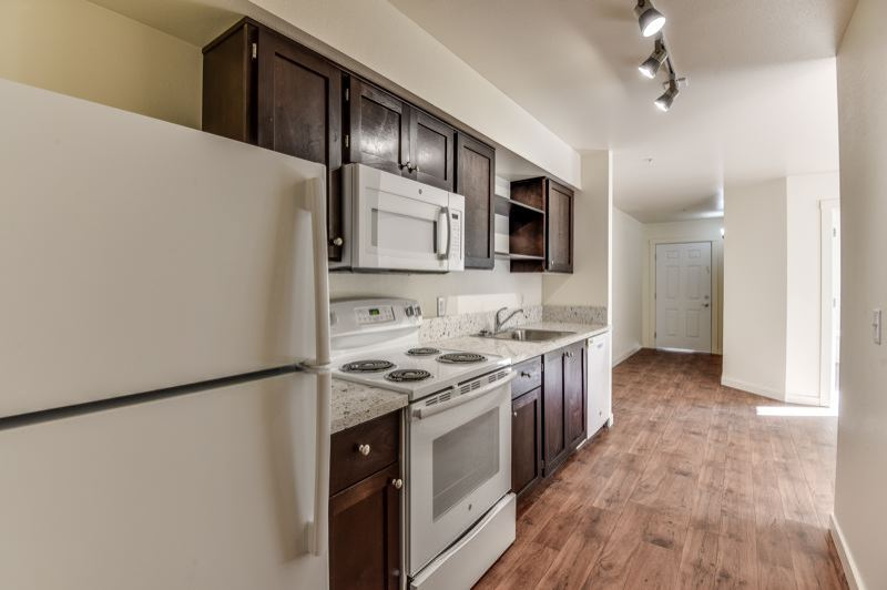 PORTLAND TRIBUNE: JONATHAN HOUSE - A kitchen in one of the Vine Maple Apartments near Northeast 148th and Burnside, built by Home First Development for around $90,000 a unit.