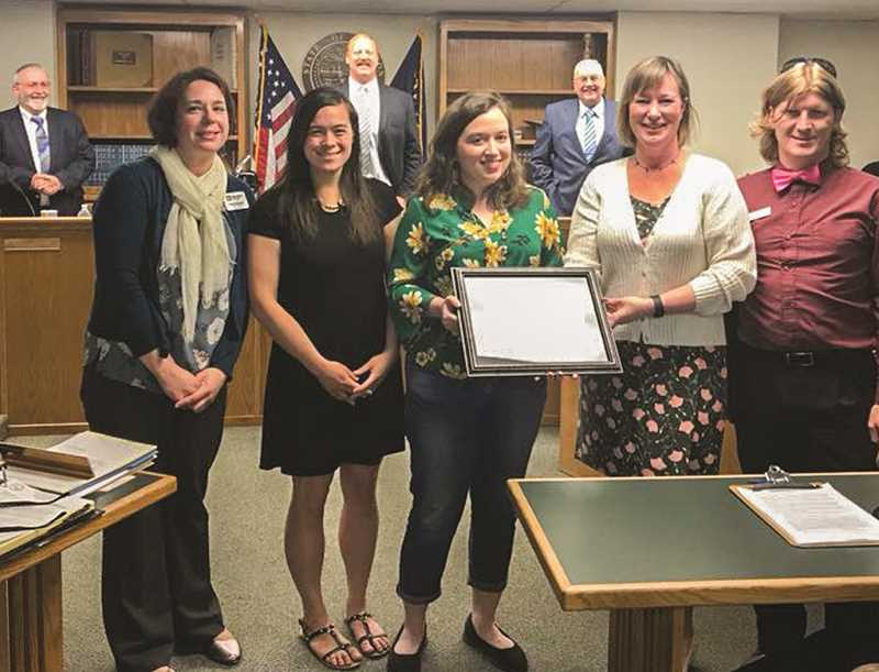 PHOTO COURTESY OF CROOK COUNTY - Members of the Crook County Library staff display their Ready to Read award during a recent Crook County Court meeting.