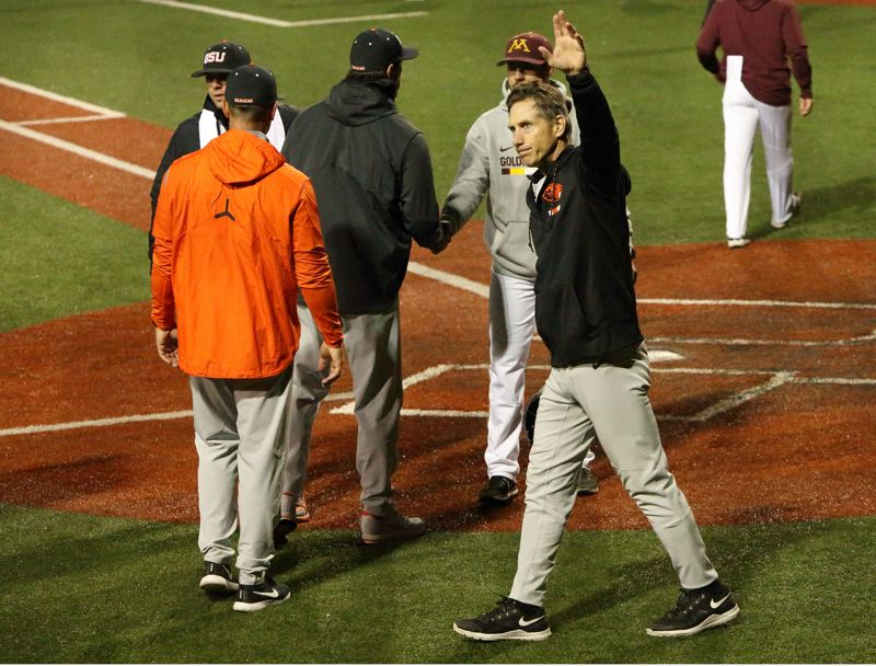 TRIBUNE PHOTO: SCOTT CASSIDY - Oregon State coach Pat Casey waves to the crowd at Goss Stadium after the Beavers edged Minnesota, 6-3, in Saturday's NCAA super regional, completing a two-game sweep.