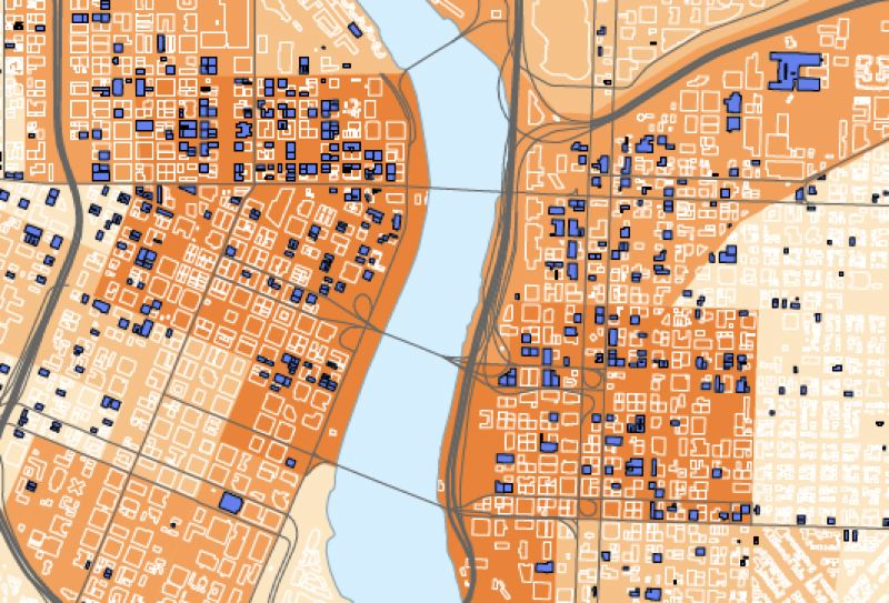 MAP BY JACOB FENTON - This map shows the prevalence of collapse-prone unreinfored-masonry buildings in the central city. The buildings are in blue, while the darker shades of orange show higher levels of projected casualties in a magnitude-9 subduction earthquake, as modeled by state geologists in March using FEMA assumptions by building type. Source: RLIS, state Department of Geology and Mineral Industries.