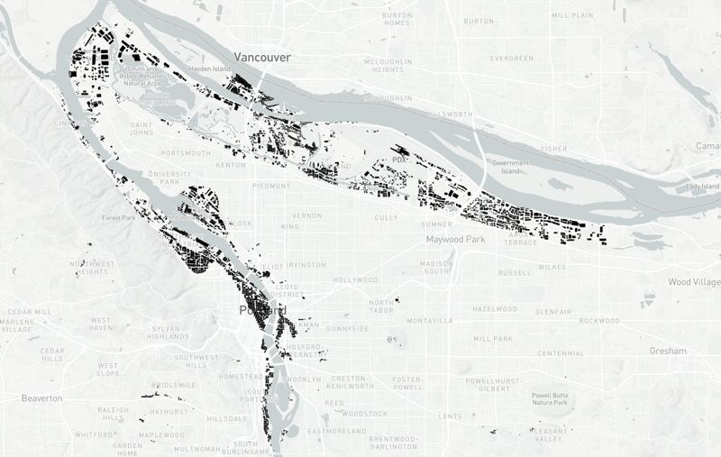 MAP BY JACOB FENTON - Almost as important as the building construction is the soil it's on. This map shows buildings in the city that are located on loose or granular soil that is at high risk of liquefaction during an earthquake- meanng seismic waves can turn the soil into a liquid-like state that amplifies shaking and damage. Source: RLIS, state Department of Geology and Mineral Industries data.