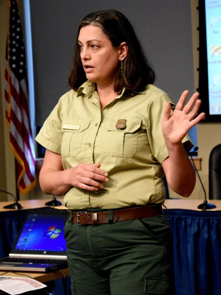 OUTLOOK PHOTO: MATT DEBOW  - Rachel Pawlitz, U.S. Forest Service public affairs officer, speaks about what trails are still closed in the gorge.