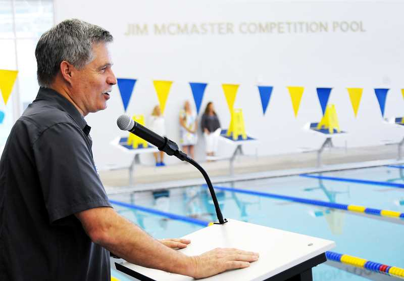 SETH GORDON - Longtime facilities manager Jim McMaster addresses the crowd after it was revealed that the competition pool would be named after him.