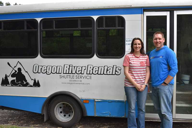 ESTACADA NEWS PHOTO: EMILY LINDSTRAND - Bryan and Amber Cottrell of Oregon River Rentals will begin offering a new shuttle service from Barton Park to Carver Park  this summer.