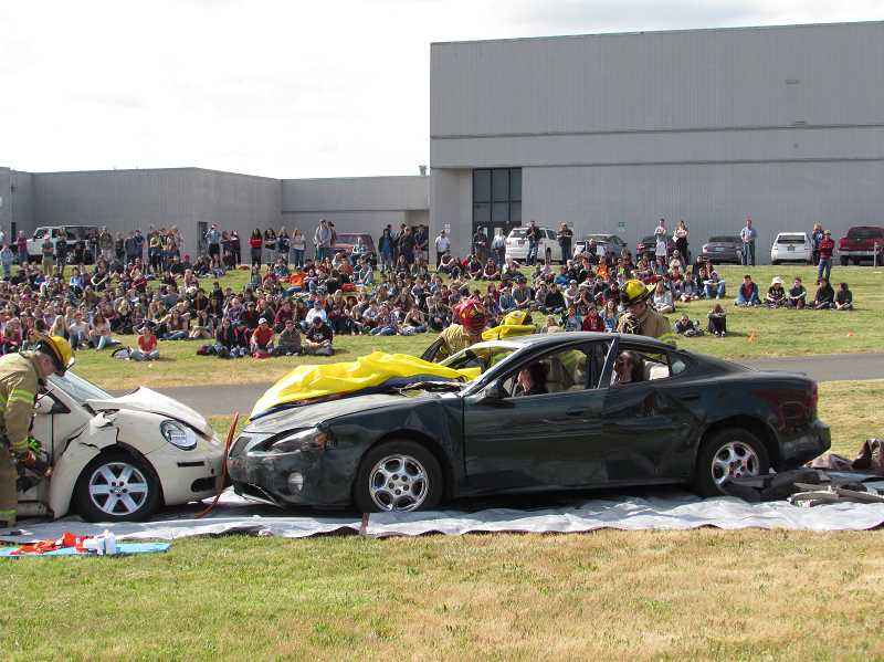 COURTESY PHOTO: AMR - Oregon Impact staged a crash reenactment at Molalla High on May 29.