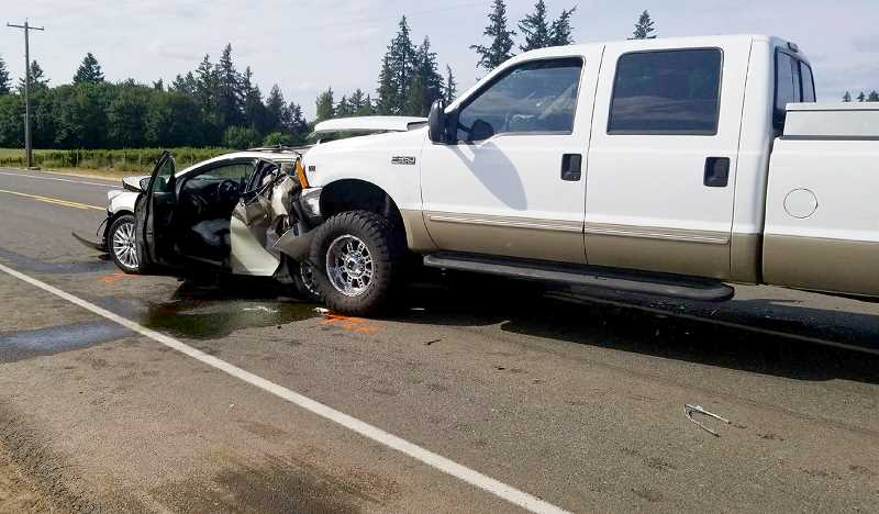 PHOTO COURTESY OF MARION COUNTY SHERIFF'S OFFICE - A three-vehicle collision on Thursday aftermoon left three men dead and two injured on McKay Road near St. Paul. Two victims were taken by Life Flight helicopter to a Portland hospital, later succumbing to their injuries.